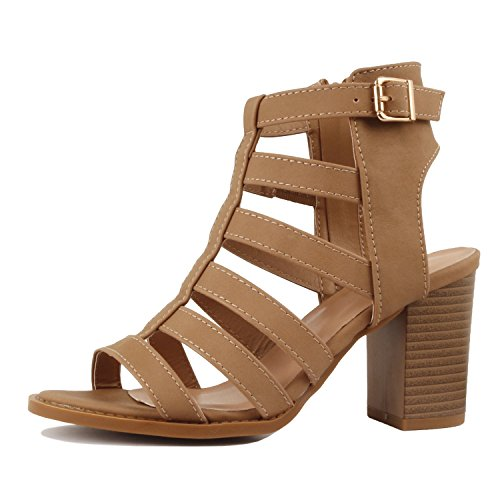 Guilty Shoes Womens Strappy Cut Out Gladiator - Open Toe Platform - Block Chunky Heeled Sandals Tan Pu