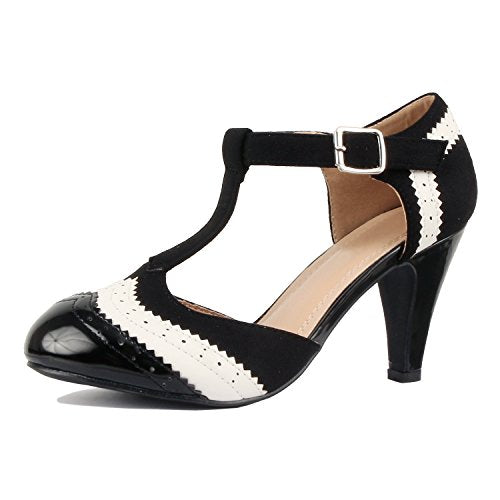 Guilty Heart Womens Vintage Retro Mary Jane Kitten Mid Heel Pump Pumps Pumps Blackwhite