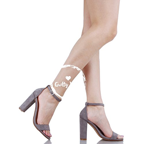 Guilty Shoes Comfort Suede One Band Open Toe - Sexy Ankle Strap Buckle - Dress Party Chunky Heel Heeled-Sandas Grey Suede
