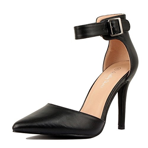 Guilty Heart Womens High Heel Sexy Stiletto Pointed Toe Ankle Buckle Dress Pumps Black Pu