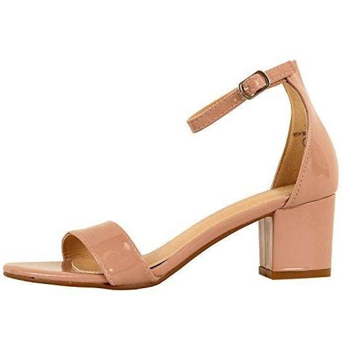 Guilty Shoes Womens Ankle Strap Single Band Sandals - Low Chunky Block Comfortable Office Heeled Sandals Dusty Rose Patent