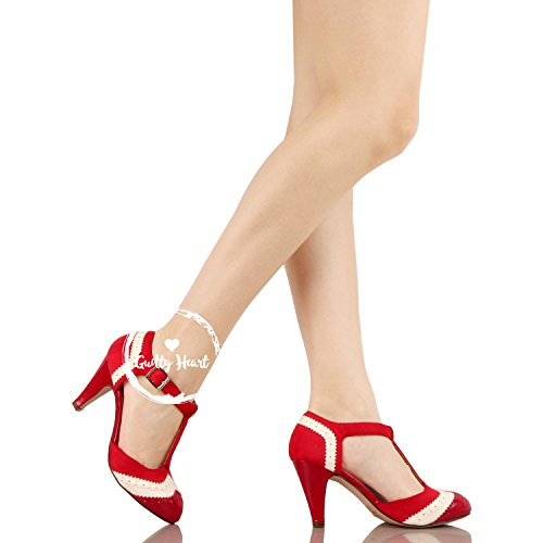 Guilty Heart Womens Vintage Retro Mary Jane Kitten Mid Heel Pump Pumps Pumps Red White