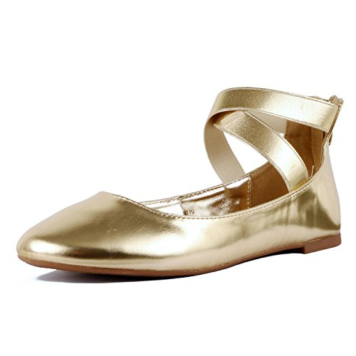 Guilty Shoes Women's Classic Ballerina Flats - Elastic Crossing Straps - Comfort Stretchy Ballet-Flats Gold Pu