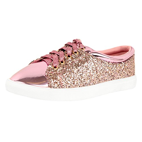Guilty Shoes Womens Fashion Glitter Metallic Lace up Sparkle Slip On - Wedge Platform Sneaker Fashion Sneakers, Pink Glitter