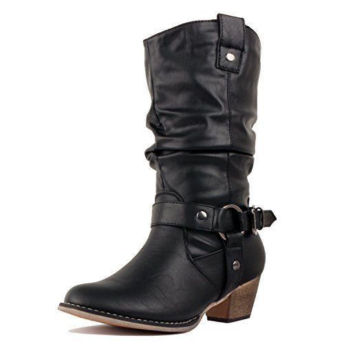 West Blvd Miami - Cowboy Western Womens Embroidery Stitching Chunky Heel Boots Black Harness