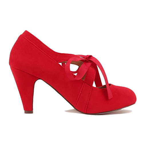Guilty Heart Womens Vintage Retro Mary Jane Kitten Mid Heel Pump Pumps Pumps Red Suede