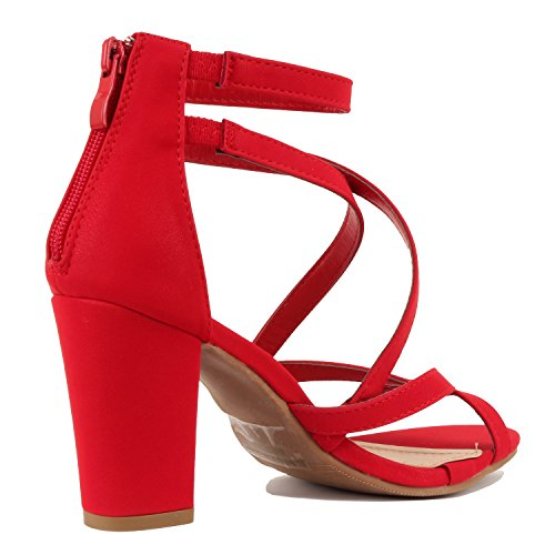 Guilty Heart Womens Block Chunky Ankle Strap Strappy Open Toe Sandals Red Pu