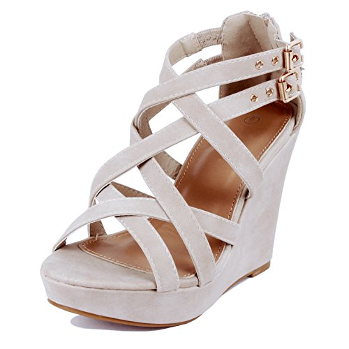 GUILTY HEART Womens Gladiator Buckles High Heel Platform Sandals Sandals Beige Pu