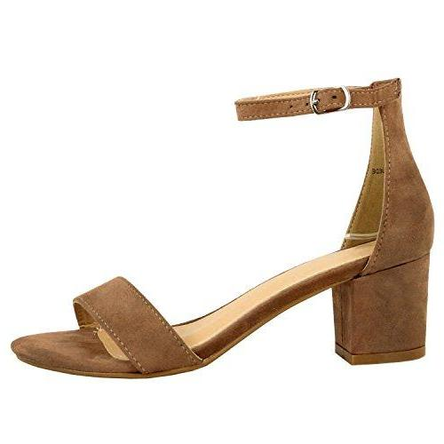 Guilty Shoes Womens Ankle Strap Single Band Sandals - Low Chunky Block Everyday Office Heeled Sandals Taupe Suede