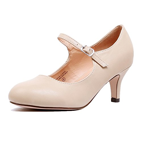 Guilty Heart Classic Mary Jane - Vintage Cute Low Kitten Heel - Round Closed Toe - Elegant Pumps-Shoes Pumps Pumps Nude Pu