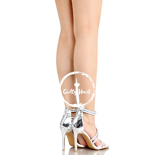 Guilty Shoes Women Sexy Metallic Ankle Strap Zip up Dress - Open Toe Stiletto Sandals Sandals Silver Pu