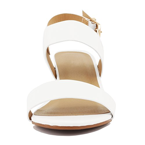 Guilty Heart Womens Block Chunky Ankle Strap Strappy Open Toe Sandals White Pu