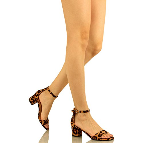 Guilty Shoes Womens Ankle Strap Single Band Sandals - Low Chunky Block Everyday Office Heeled Sandals Leopard Suede