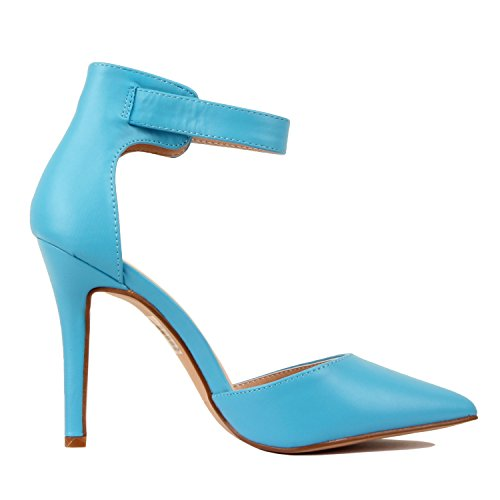 Guilty Heart Womens High Heel Sexy Stiletto Pointed Toe Ankle Buckle Dress Pumps Blue Pu