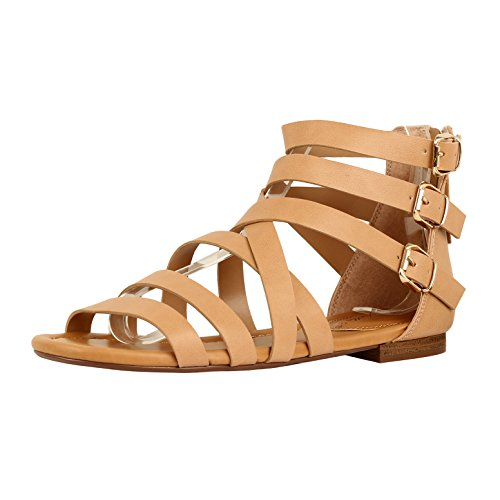 Guilty Heart Womens Sexy Versatile Strappy Platform Stiletto Block Heel Ankle Strap Sandal Sandals Natural PU