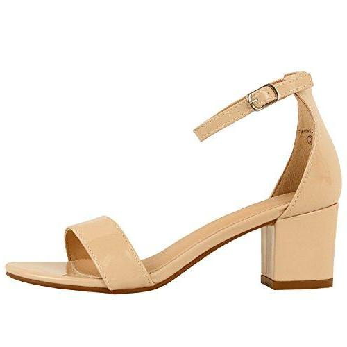 Guilty Shoes Womens Ankle Strap Single Band Sandals - Low Chunky Block Comfortable Office Heeled Sandals Nude Patent