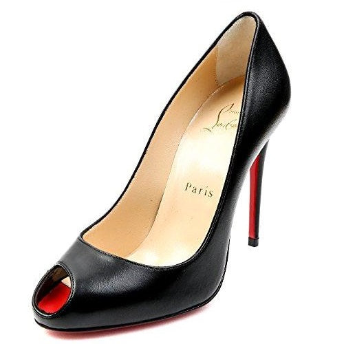 Christian Louboutin Women's Peep Toe Leather High Heels Black