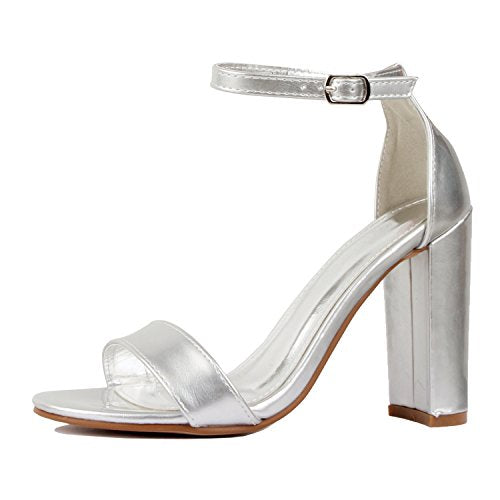 Guilty Shoes Womens Comfort High Heel Sandal - One Band Open Toe Ankle Strap Sexy Dress Chunky Block Heel - Stiletto Sandals Silver Pu