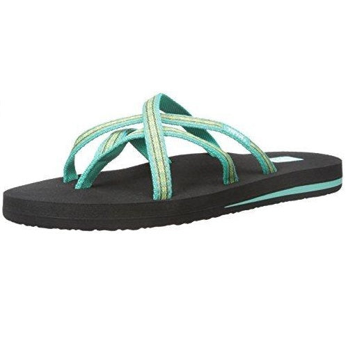 Teva Women's Olowahu Flip-Flop Pintado Florida Keys Green Teal Yellow