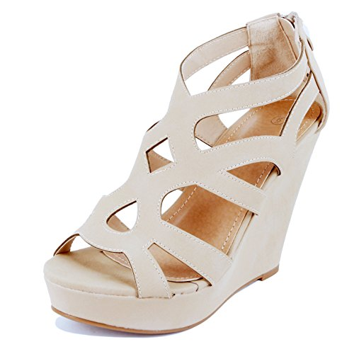 Guilty Shoes Womens Gladiator Strappy Open Toe Platform Wedge Sandals Beige Pu
