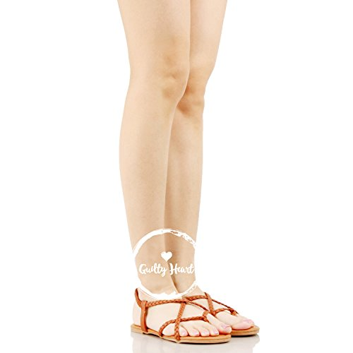 Guilty Heart Womens Crisscross Summer Gladiator Braided Comfort Yoga Strappy Flats-Sandals Tan PU