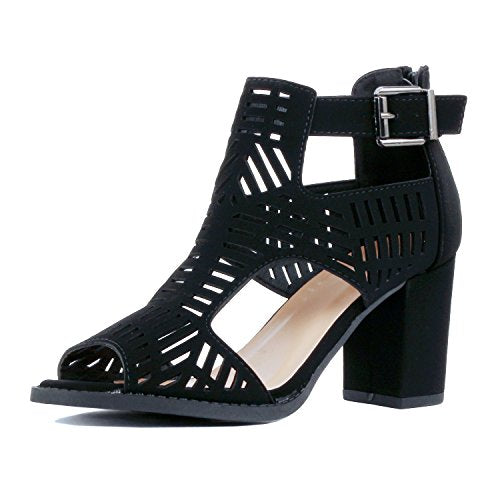 Guilty Shoes Womens Strappy Cut Out Gladiator - Open Toe Buckle Block Chunky Heel Comfortable Walking Sandals Black Pu
