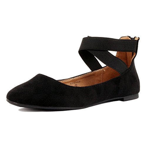 Guilty Shoes Womens Classic Comfort Elastic Crossing Straps - Stretchy Ballerina Ballet Flats Flats Black Suede