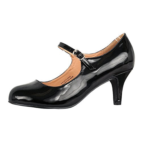 Guilty Heart Classic Mary Jane - Vintage Cute Low Kitten Heel - Round Closed Toe - Elegant Pumps-Shoes Pumps Pumps Black Patent