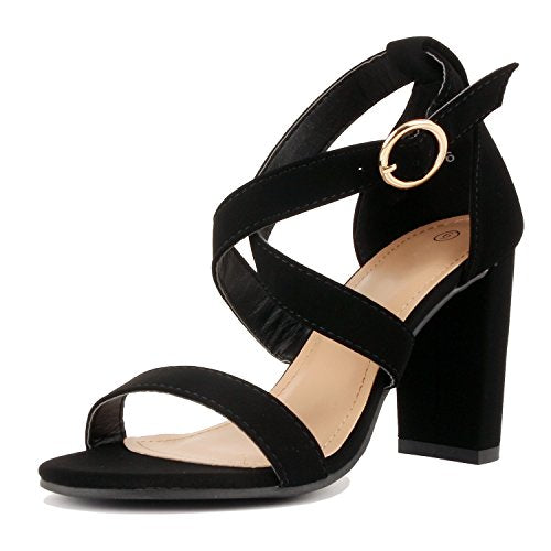 Guilty Heart Womens Sexy Versatile Strappy Platform Stiletto Block Heel Ankle Strap Sandal Heeled Sandals Black Pu