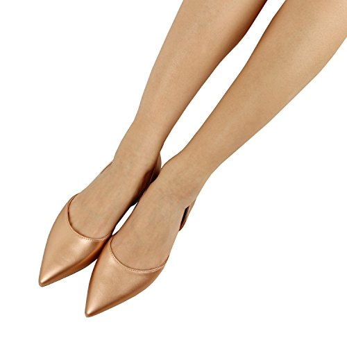 Guilty Heart Women's D'Orsay Almond Pointed Toe Slip On Casual Flats Rose Gold Pu
