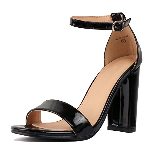 Guilty Shoes Womens Comfort High Heel Sandal - One Band Open Toe Ankle Strap Sexy Dress Chunky Block Heel - Stiletto Sandals Black Pat