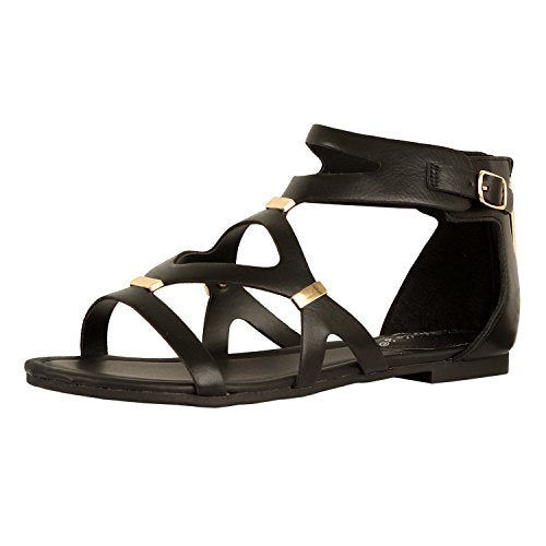 Guilty Heart Womens Sexy Versatile Strappy Platform Stiletto Block Heel Ankle Strap Sandal Sandals Black PU