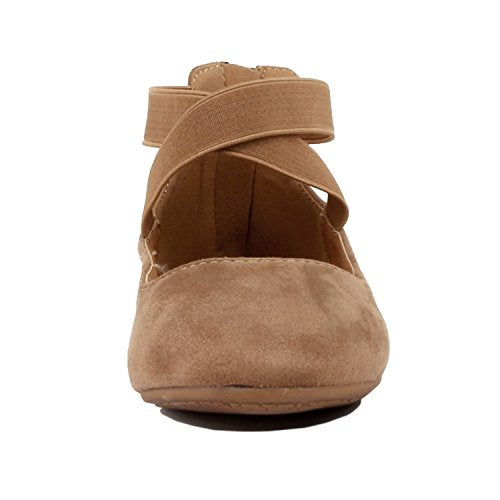 Comfort Stretchy Ballet-Flats Guilty Shoes Taupe Suede Womens Classic Ballerina Flats 7.5 Elastic Crossing Straps