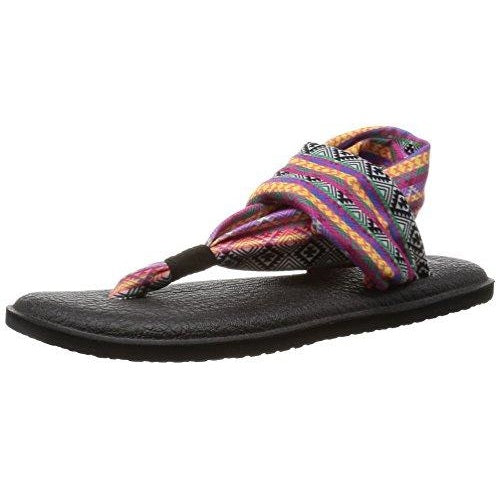 Sanuk Women's Yoga Sling 2 Prints Flip Flop Magenta Multi Tribal Stripe