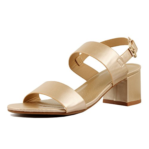 Guilty Heart Womens Comfortable Block Chunky Ankle Strap Strappy Open Toe Mid Heel Sandals Gold Pu
