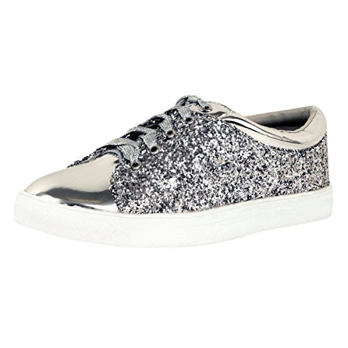 Guilty Shoes Womens Fashion Glitter Metallic Lace up Sparkle Slip On - Wedge Platform Sneaker Fashion Sneakers Silver Glitter