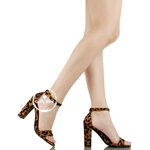 Guilty Shoes Comfort Suede One Band Open Toe - Sexy Ankle Strap Buckle - Dress Party Chunky Heel Heeled-Sandas Leopard Suede