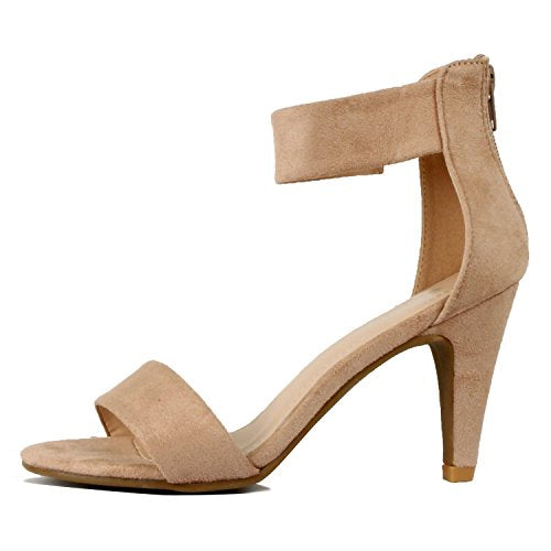 Womens Classic Comfort Sexy Open Toe Mid Heel Ankle Strap Dress Stiletto Heeled-Sandals Taupe Suede