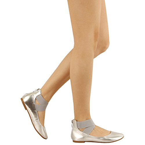 Guilty Shoes Women's Classic Ballerina Flats - Elastic Crossing Straps - Comfort Stretchy Ballet-Flats Silver Pu