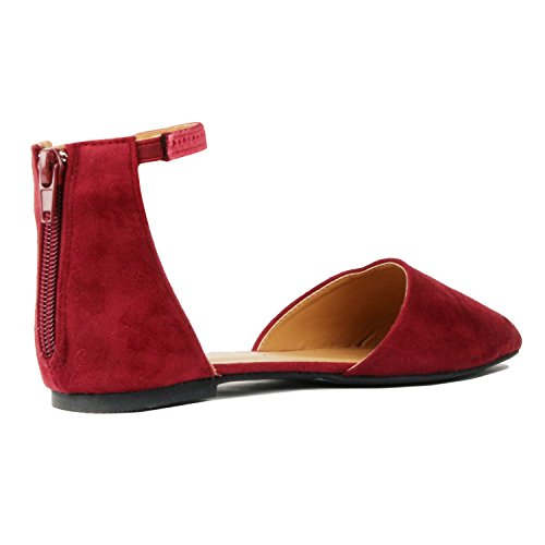 Guilty Heart Womens D'Orsay Ankle Strap Almond Pointed Toe Comfortable Suede Flats Flats Red Suede