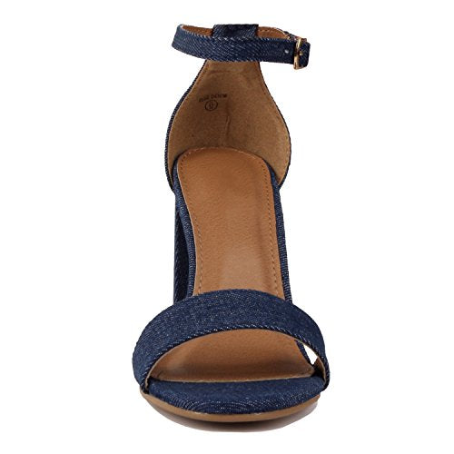 Guilty Shoes Comfort Suede One Band Open Toe Sexy Ankle Strap Buckle Chunky Heel Heeled-Sandals Blue Denim Fabric