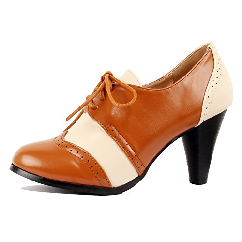 Guilty Shoes Retro Two Tone Embroidery - Wing Tip Lace up - Kitten Heel Classic Pump Oxfords-Shoes, Tan White