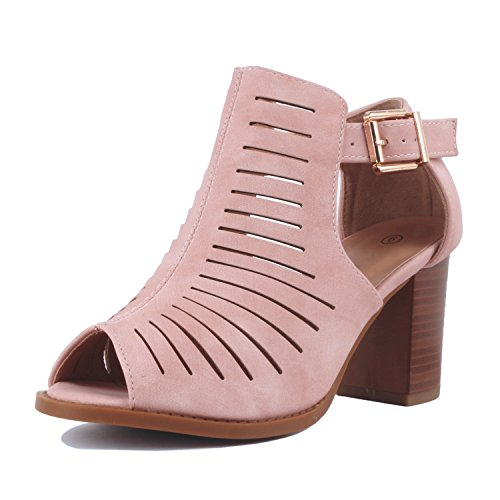 Womens Strappy Cut Out Gladiator Open Toe Platform Chunky Heel Sandal Bootie Sandals Blush Pu
