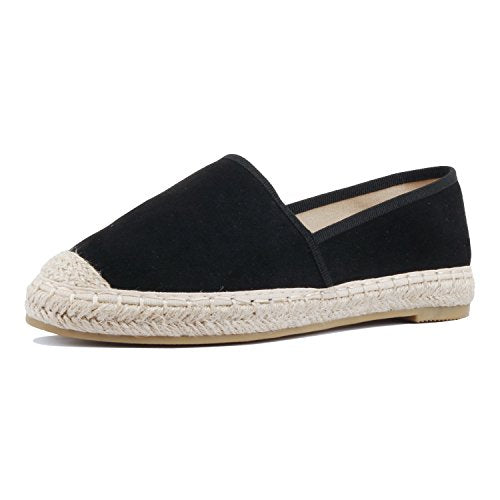 Guilty Heart Womens Slip On Comfort Stretchy Platform Loafer Espadrille Flat Loafers & Slip-ONS Black Suede