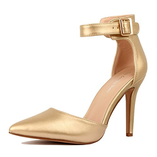 Guilty Heart Womens High Heel Sexy Stiletto Pointed Toe Ankle Buckle Dress Pumps Gold Pu