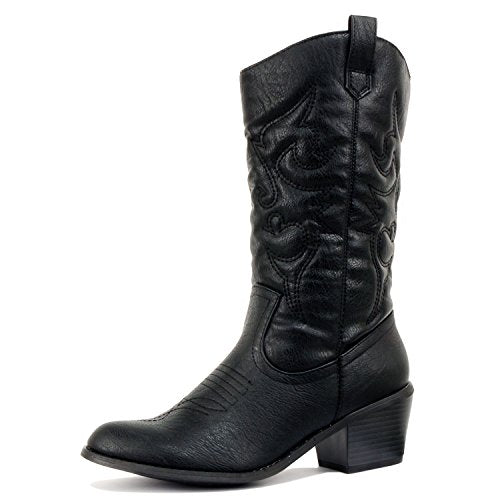 West Blvd Miami Cowboy Western Boots Black Pu