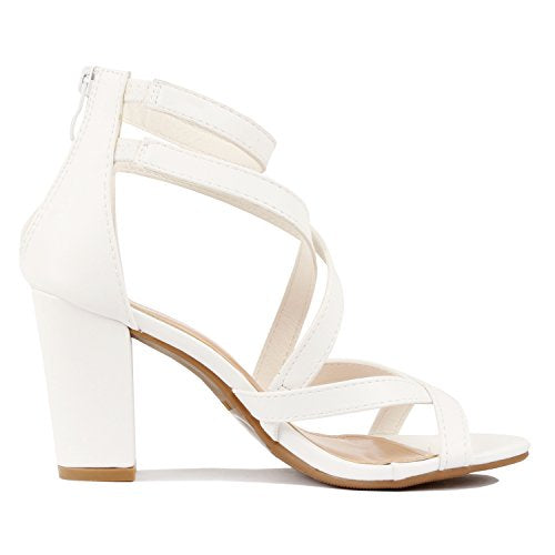 f3cb4a81b79 ... Guilty Heart Womens Comfortable Block Chunky Ankle Strap Strappy Open  Toe Mid Heel Sandals White Pu ...