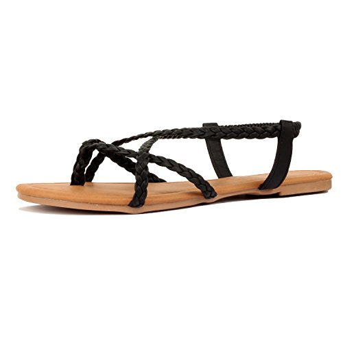 Guilty Heart Womens Crisscross Summer Gladiator Braided Comfort Yoga Strappy Flats-Sandals Black PU