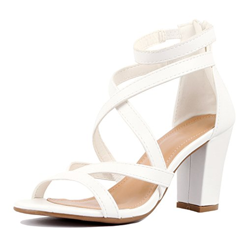 Guilty Heart Womens Comfortable Block Chunky Ankle Strap Strappy Open Toe Mid Heel Sandals White Pu