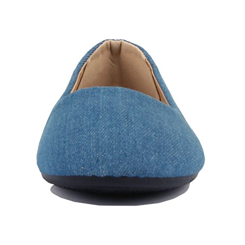 Guilty Shoes Womens Classic Comfortable Round Toe Slip On Ballet Everyday Flats Denim